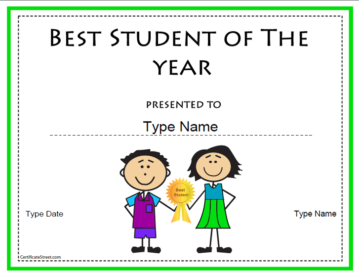 Education certificates certificate template for best for Student of the year certificate template