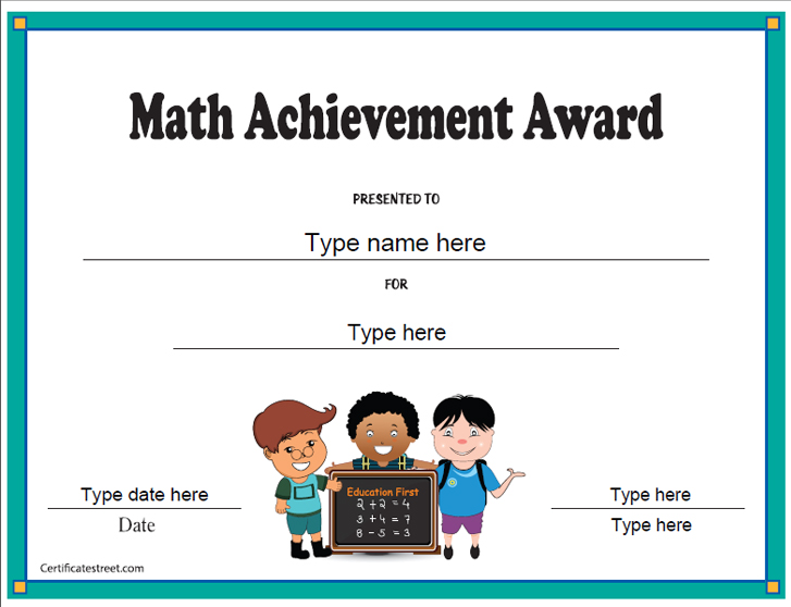 Certificate street free award certificate templates no math achievement award yelopaper Image collections