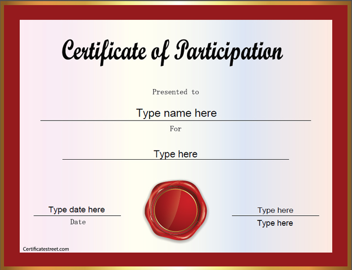 certification of participation certification of participation