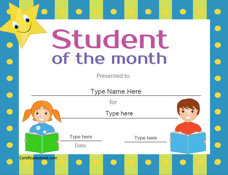 Certificate street free award certificate templates no student of the month yadclub Images