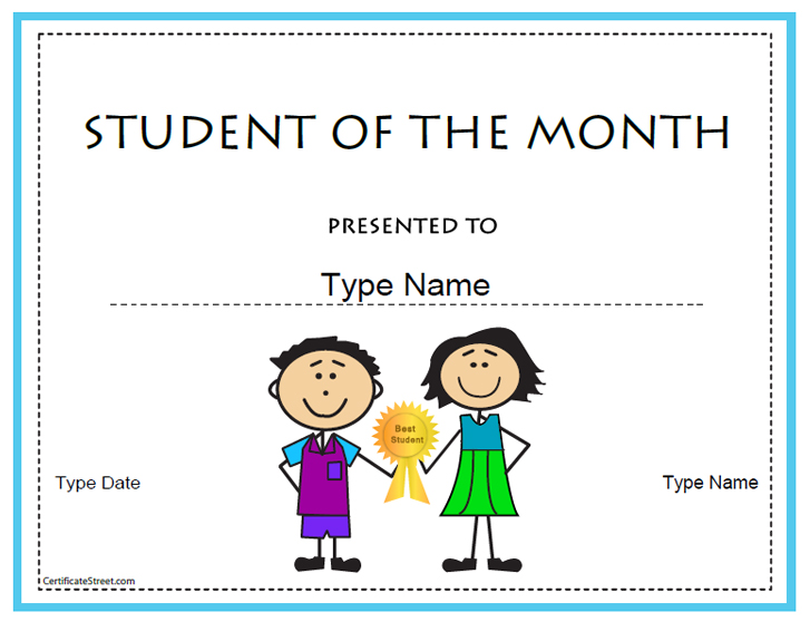 education certificates student of the month certificatestreet com