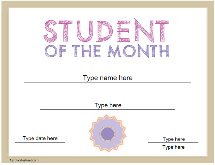 Education Certificates Student Of The Month Certificate
