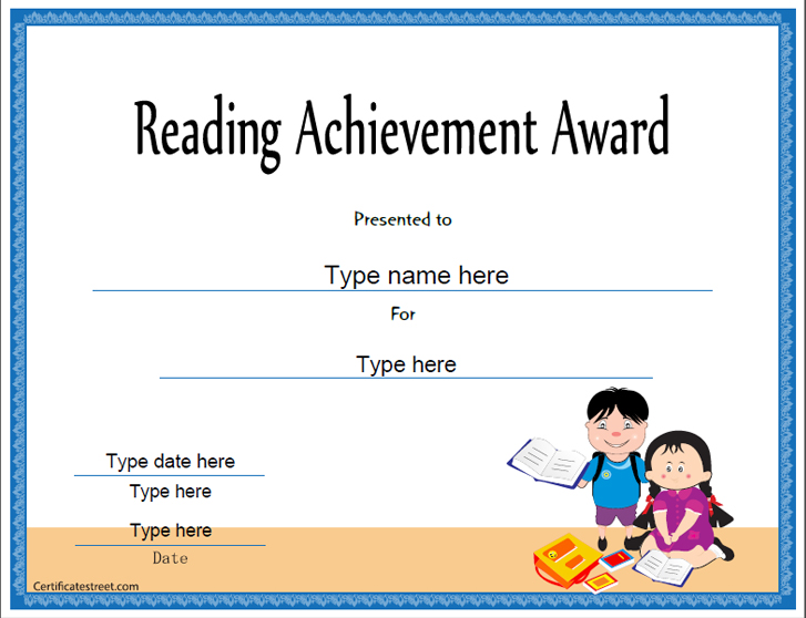 education certificates reading achievement award template