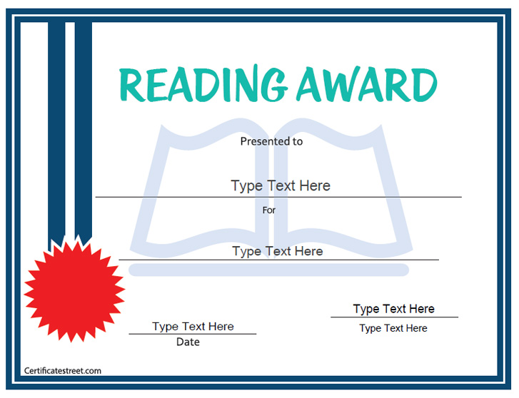 Education certificates reading award certificatestreet yadclub Choice Image