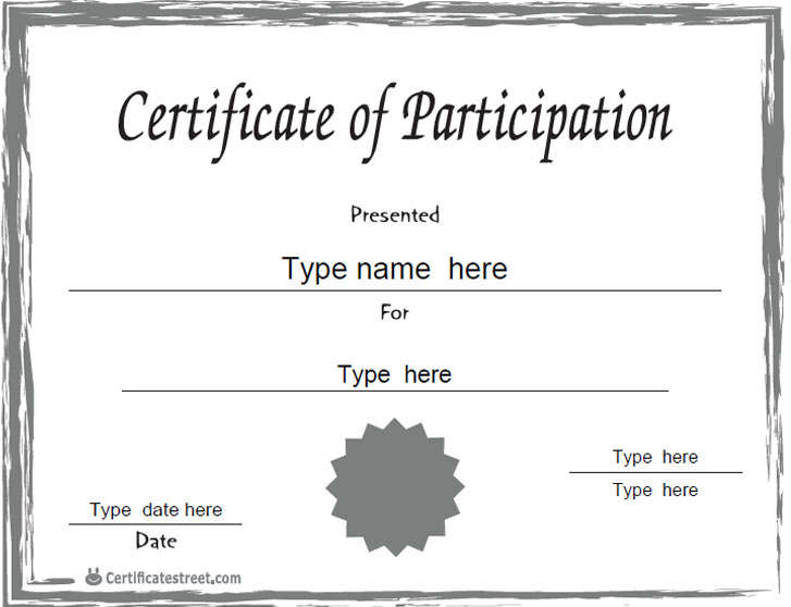 Blank participation certificate template just bcause for Free participation certificate templates for word