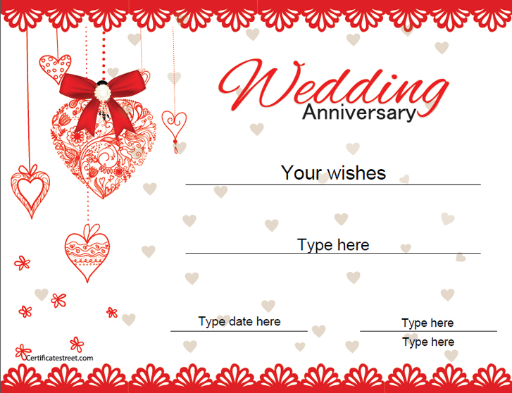 relationships certificates wedding anniversary certificate template certificatestreetcom - Wedding Anniversary Certificate Template