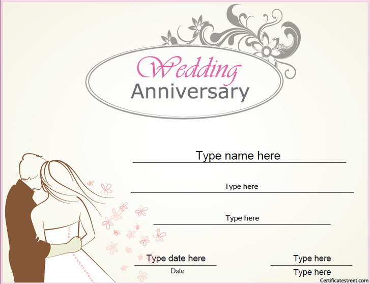 Relationships certificates wedding anniversary for Work anniversary certificate templates