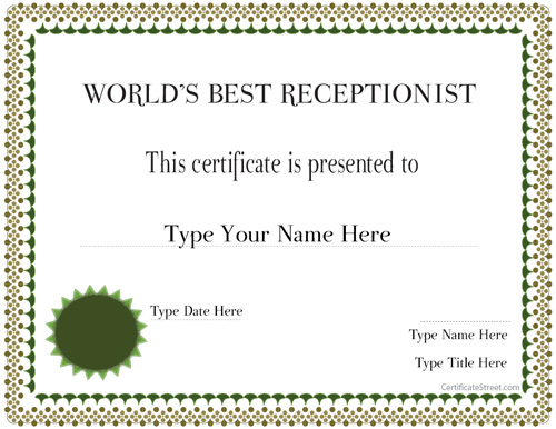 Certificate street free award certificate templates no best receptionist in the world yelopaper Choice Image