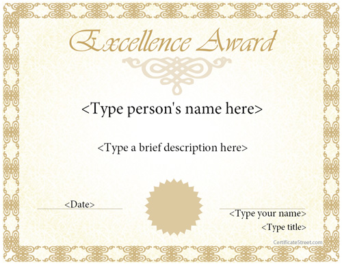Special Certificates Award Template for Excellence – Award of Excellence Certificate Template