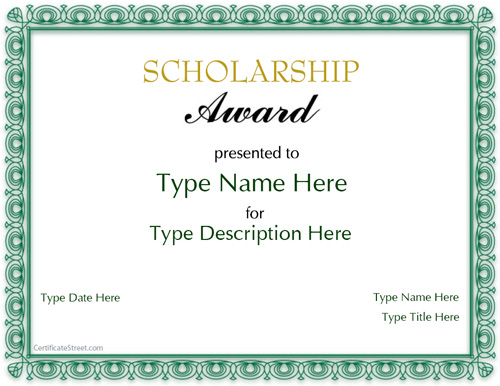 scholarship certificates templates free