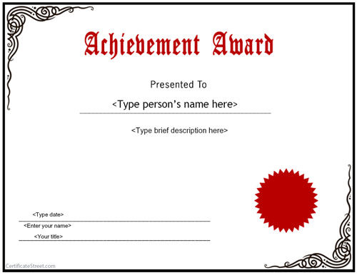 special certificates achievement award certificatestreetcom - Certificate Of Accomplishment Template