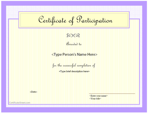 Special Certificates Award Certificate of Participation – Free Certificate of Participation Template