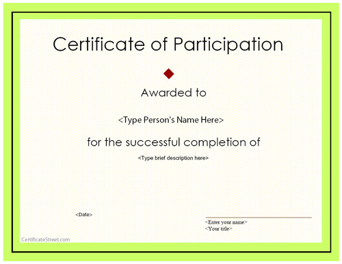 Doc400309 Certificate of Participation Free Template – Free Certificate of Participation Template