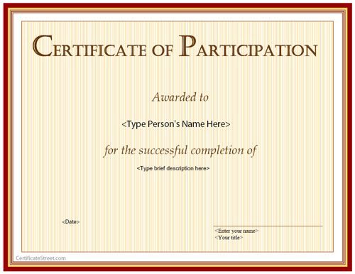 Special Certificates - Certification Of Participation