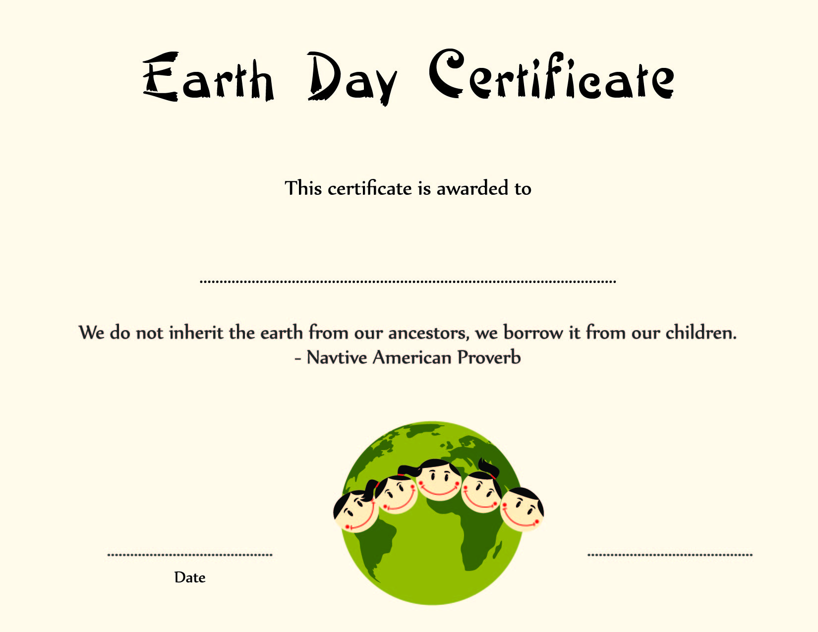 Earth day certificate template publisher choice image certificate earth day award certificate template yadclub choice image yelopaper Image collections