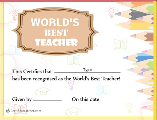 Certificate street free award certificate templates no teachers day certificate template yadclub Image collections