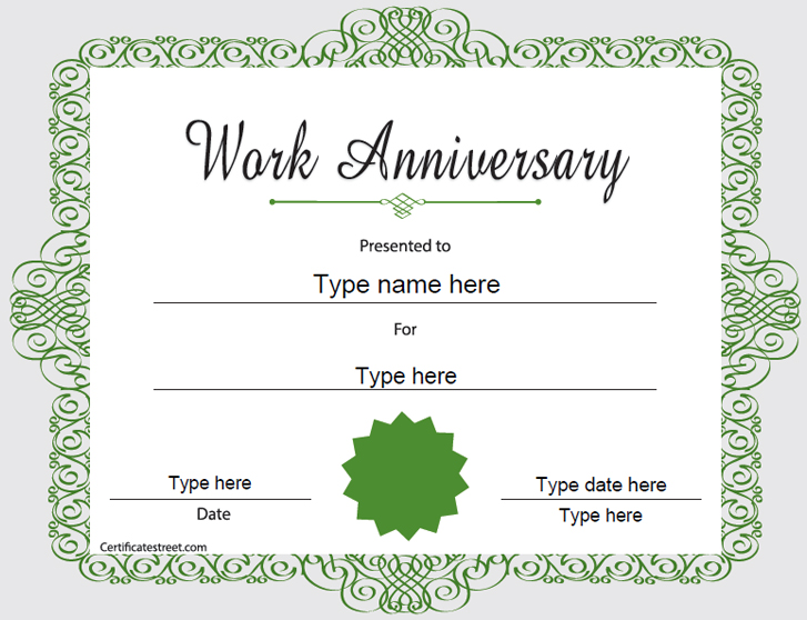 Lovely Work Anniversary Certificate Template Idea Anniversary Certificate Template