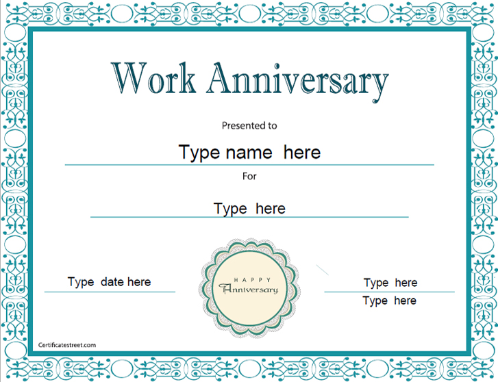 Years Of Service Certificate Templates Free