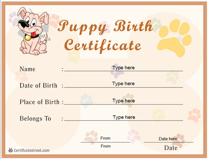 Special Certificates Puppy Birth Certificate – Birth Certificate Template Printable