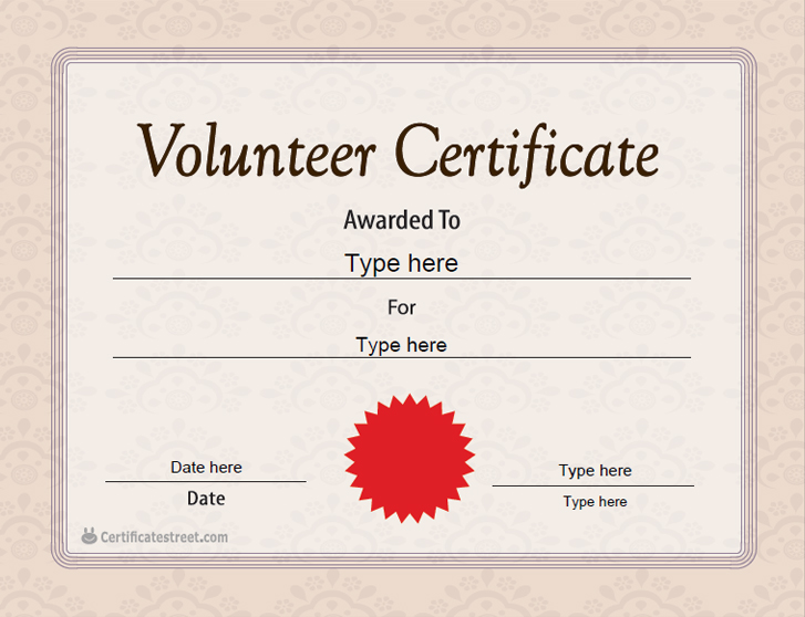 Special Certificates Volunteer Certificate Template