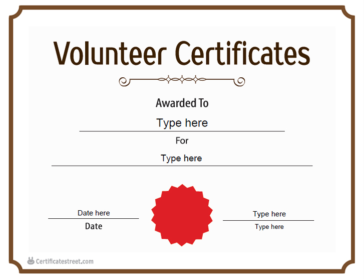 Special Certificates - Certificate of Volunteer | CertificateStreet.com