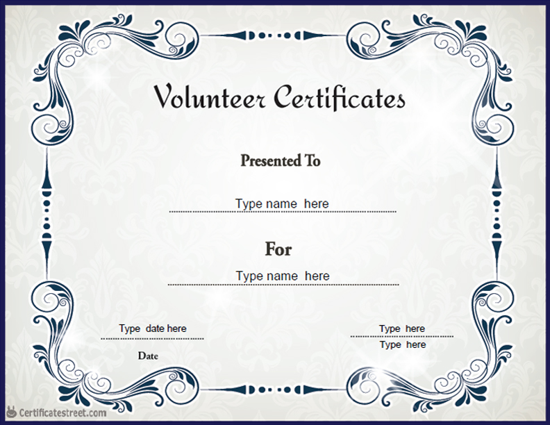 Special Certificates - Volunteer Certificate Blue Theme ...