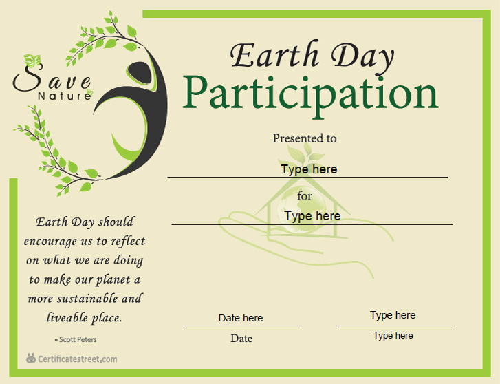 Earth day certificate template publisher choice image certificate earth day award certificate template certificate street free award certificate templates no yadclub choice image yelopaper Image collections