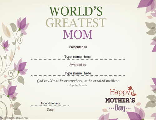 mothers day certificate template