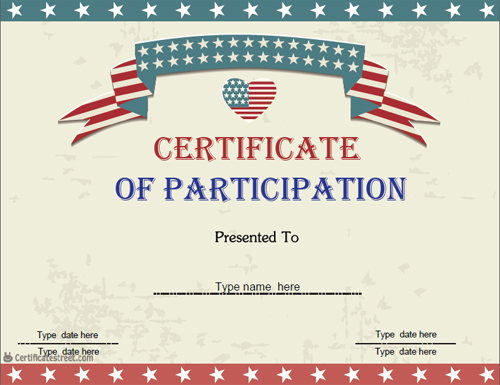 ... Certificate Of Participation Usa Design  Design Of Certificate Of Participation