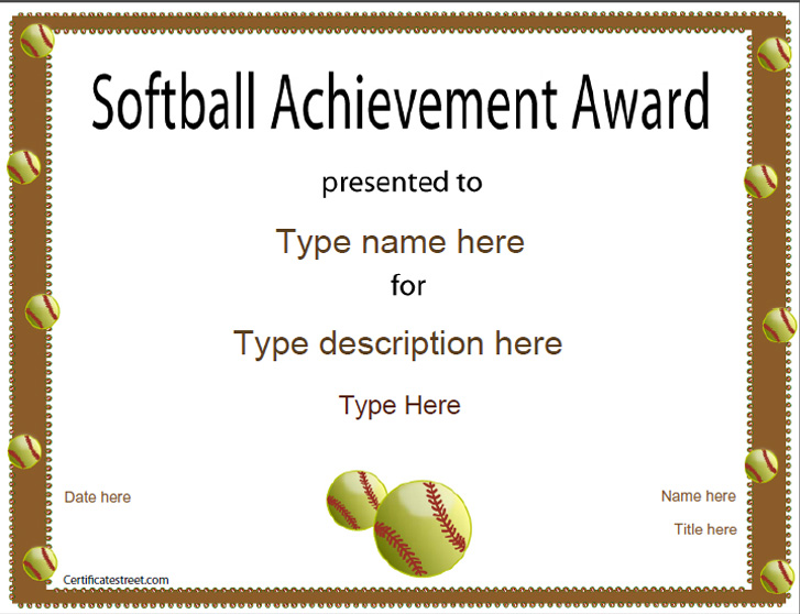 softball awards certificates  Sports Certificates - Softball certificate | CertificateStreet.com