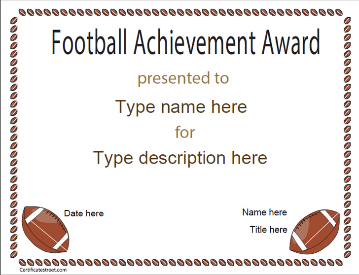 Sports Certificates Football Achievement Award Certificatestreet