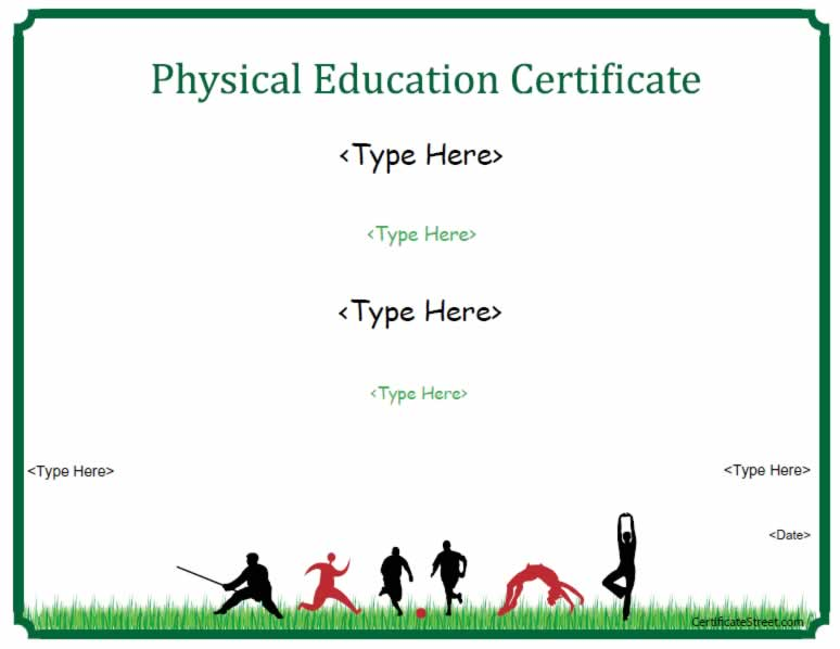Sports certificates physical education certificate sports certificates physical education certificate certificatestreet yadclub Gallery