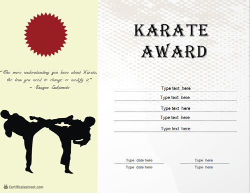 Certificate street free award certificate templates no for Karate certificates templates free