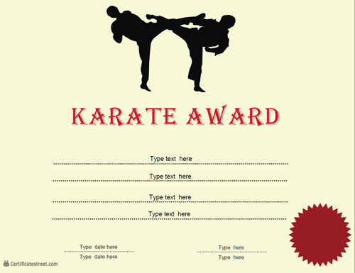 Sports certificates karate award for Karate certificates templates free