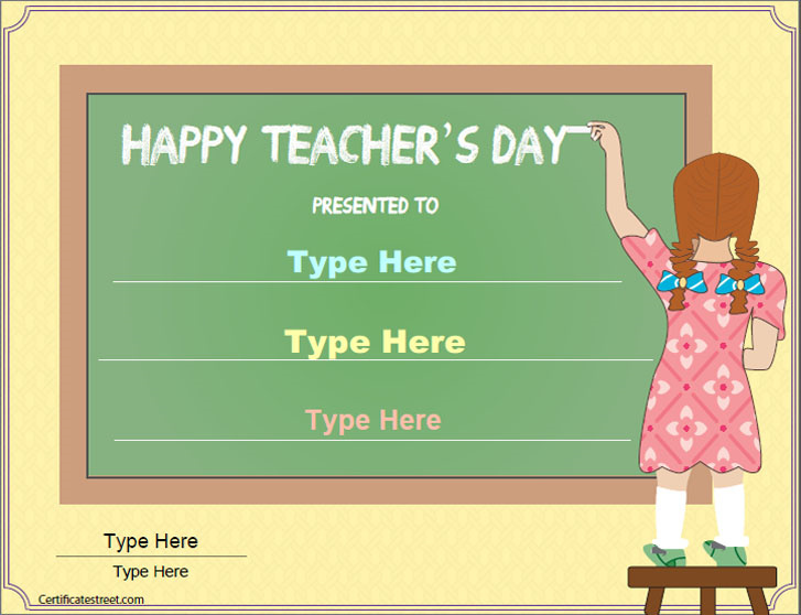 special certificates teachers day certificate template teachers day appreciation certificate certificatestreetcom - Teacher Certificate Template
