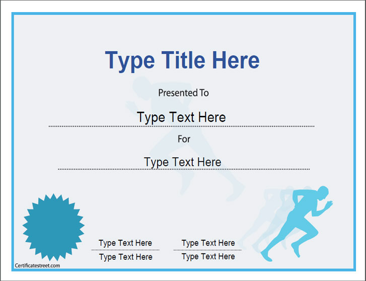 Sports certificates certificate template for achievement for Running certificates templates free