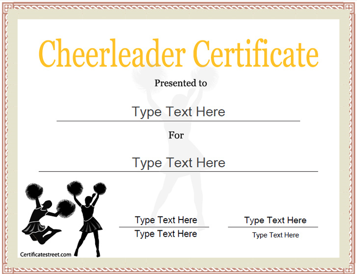 Sports Certificates   Cheerleader Award Template | Cheerleader Certificate  | CertificateStreet.com  Free Customizable Printable Certificates Of Achievement