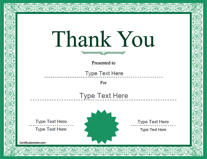 Special Certificates Thank You Award Template – Thank You Certificate Template