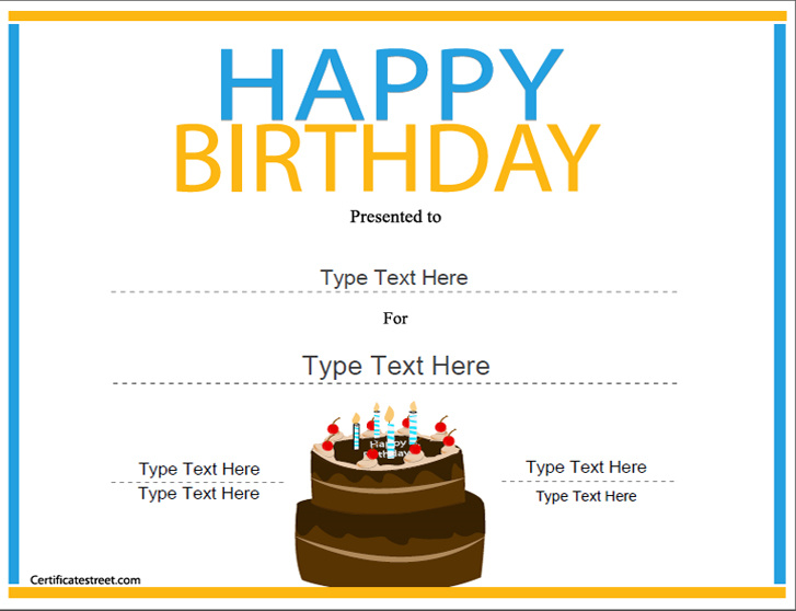 birthday certificate template free