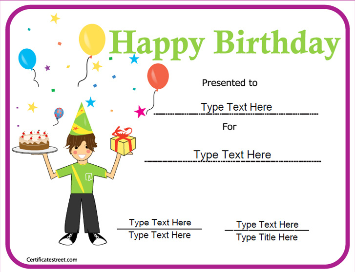 Special Certificates   Happy Birthday Certificate | Birthday Celebration  Certificate | CertificateStreet.com  Birthday Certificate Templates Free Printable