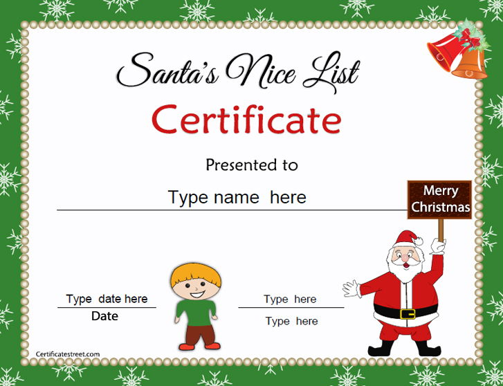 Special Certificates Christmas Certificates For Kids