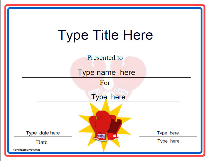 Template certificates insrenterprises sports certificates boxing award template certificatestreet com yadclub Image collections