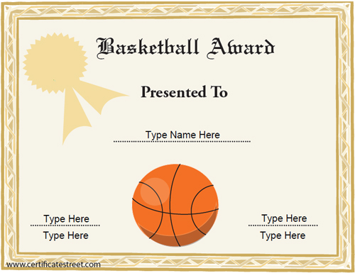 sports certificates basketball award certificate certificatestreetcom