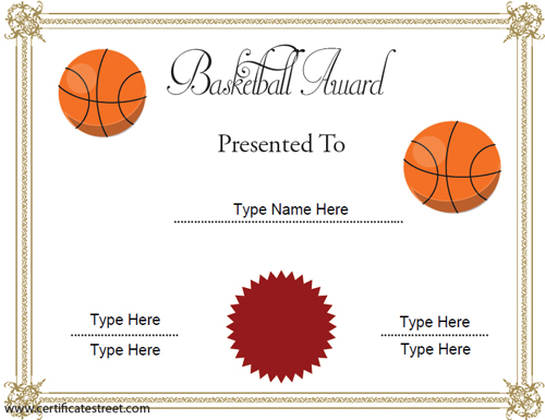 Sports Certificates Free Basketball Certificates