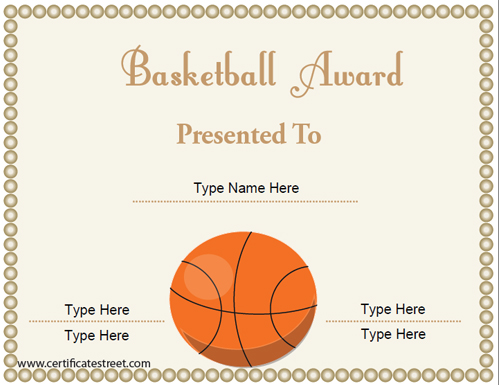 Basketball certificate template free hatchurbanskript yadclub Choice Image