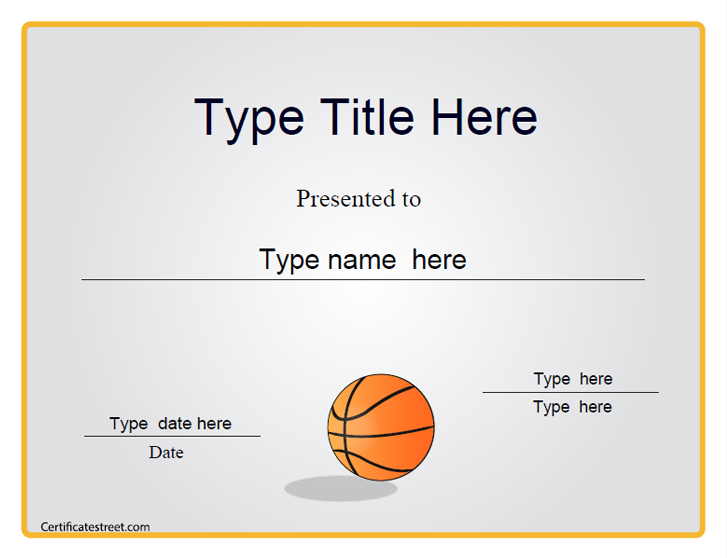 Certificate street free award certificate templates no for Basketball mvp certificate template