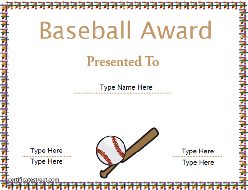 sports certificates baseball achievement template