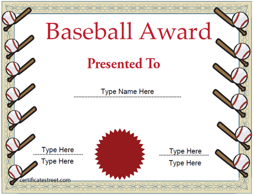Sports certificates baseball certificate template sports certificates baseball certificate template certificatestreet yadclub Image collections