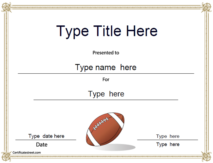 Sports Certificates  American Football Award Template