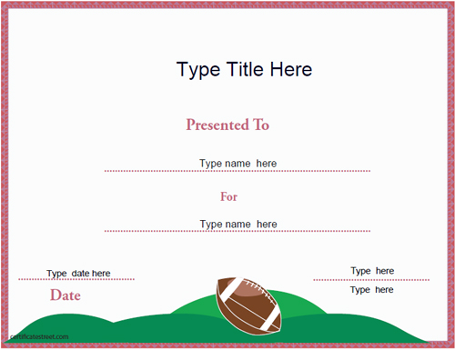 american football certificate template